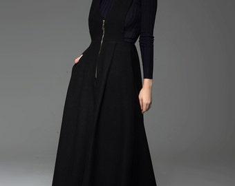 Black pinafore dress, wool maxi dress, dungarees, winter dress, woman dress, long dress, warm dress, zipper dress, pleated dress C776