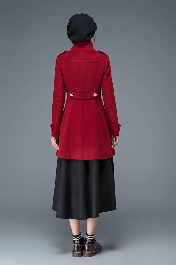 coat women coat coat wool high collar coat Vintage coat wool coat warm coat coat Military winter retro womens C1198 coat red coat dwwqR