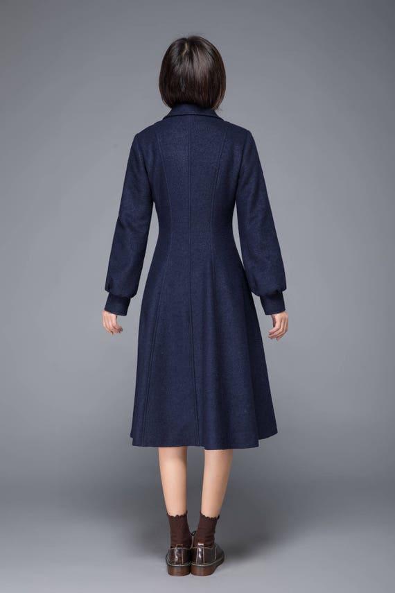 blue coat coat winter Tailored Trench winter with Maxi Long women pockets Coat coat C1229 coat coat coat Elegant coat coats wool 4qtwgXI