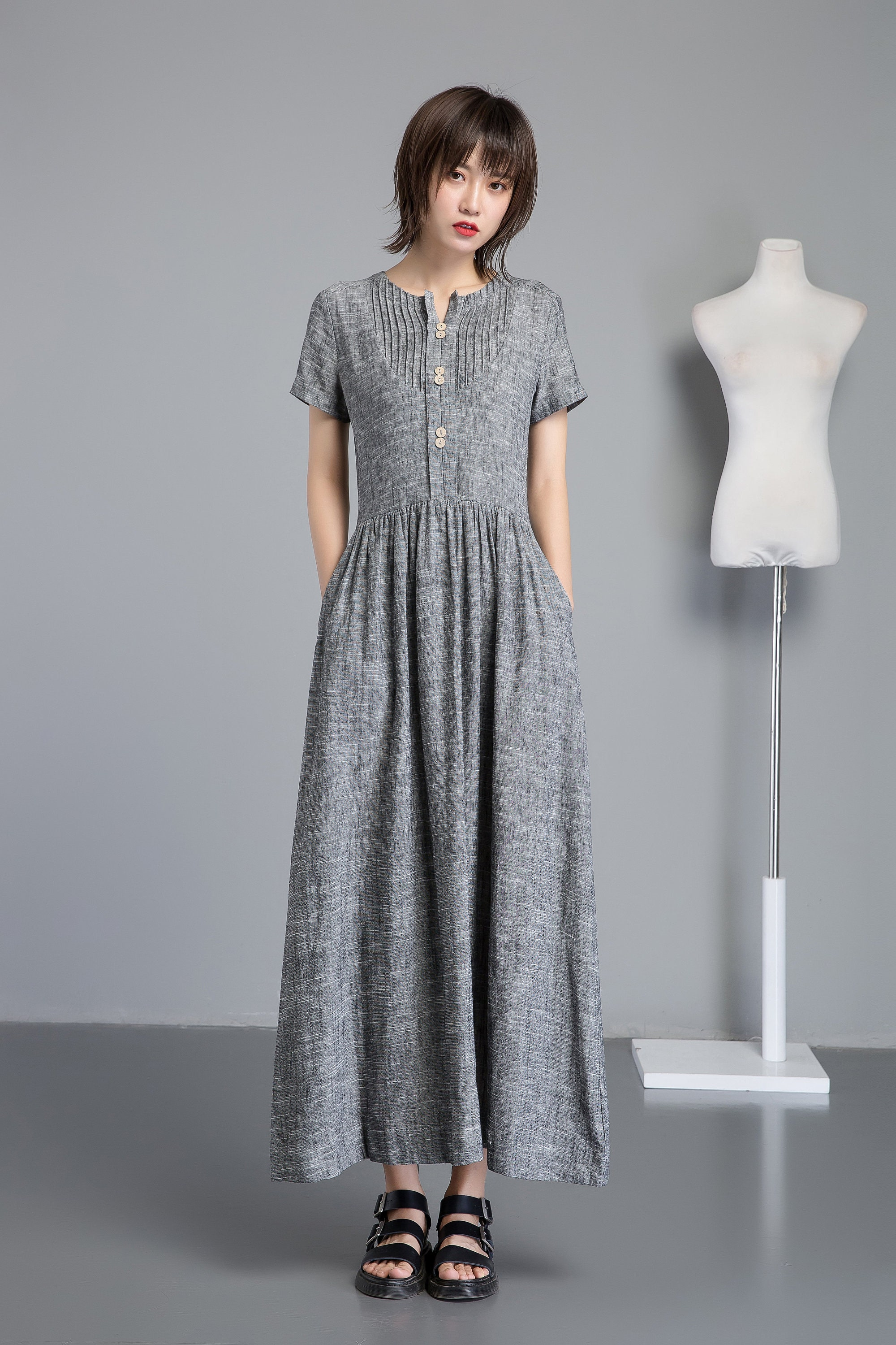 Linen Shirt Dress With Pockets Long Gary Linen Dress For Etsy