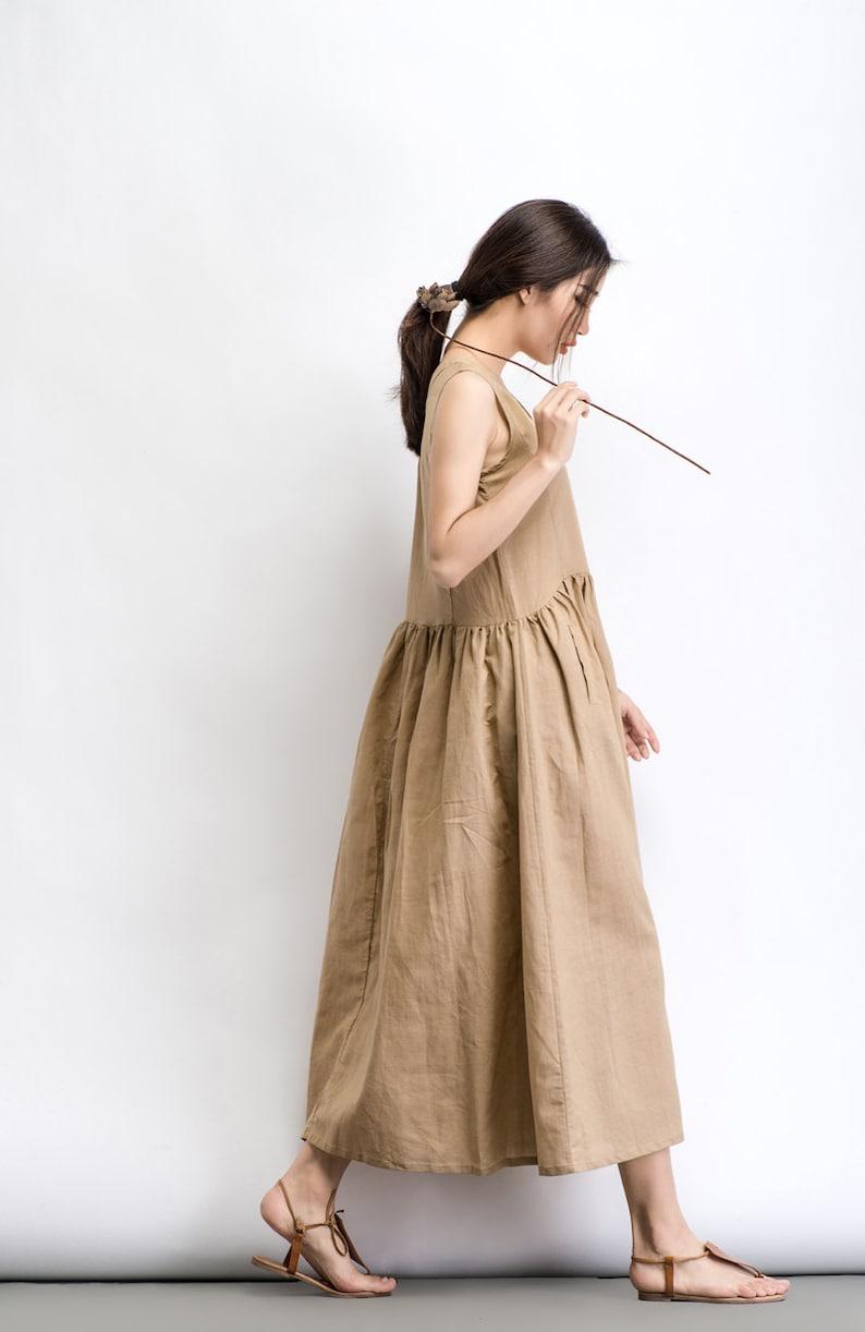 d8d26583beb Beige Linen Dress Maxi Neutral Color V-neck Sleeveless