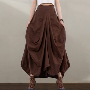 Inverted Pleats High Waisted Skirt Womens  Business Indigenous Art 100/% Cotton Pockets
