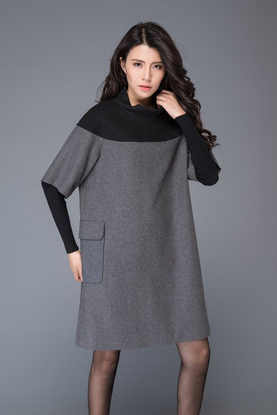 Wool tunic, tunic dress, winter dress, mini dress, grey wool dress, womens dress, tunic tops women, mini dress, gray wool dress C1012.