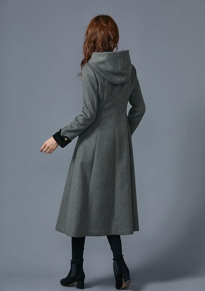 wool warm coat handmade coat Gray long coat winter wool coat wool coat with hooded winter coat C1624 wool coat women