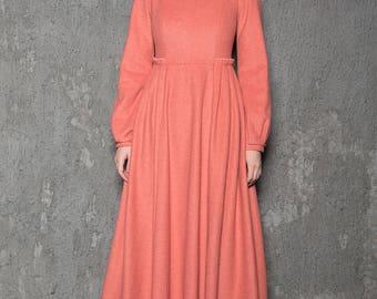 Winter dress, wool dress, long dress, long wool dress, long lantern sleeves dress, pink dress, womens dresses, handmade wool dress  C726