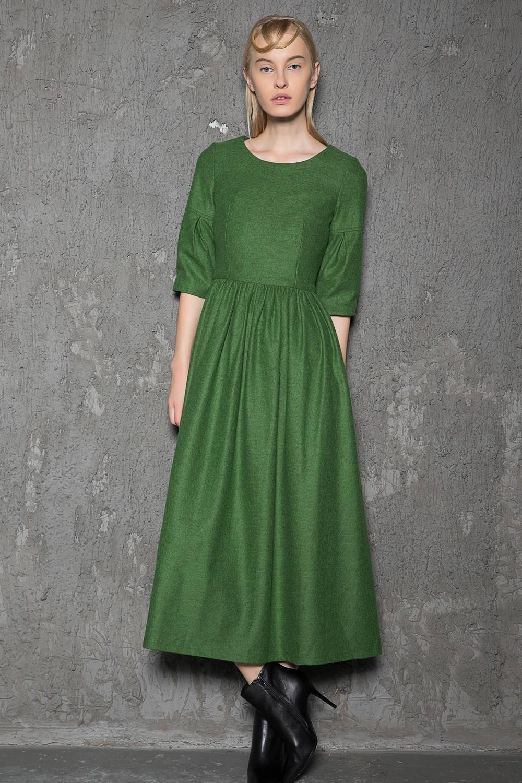 Wool Dress emerald green dress green dress long wool dress