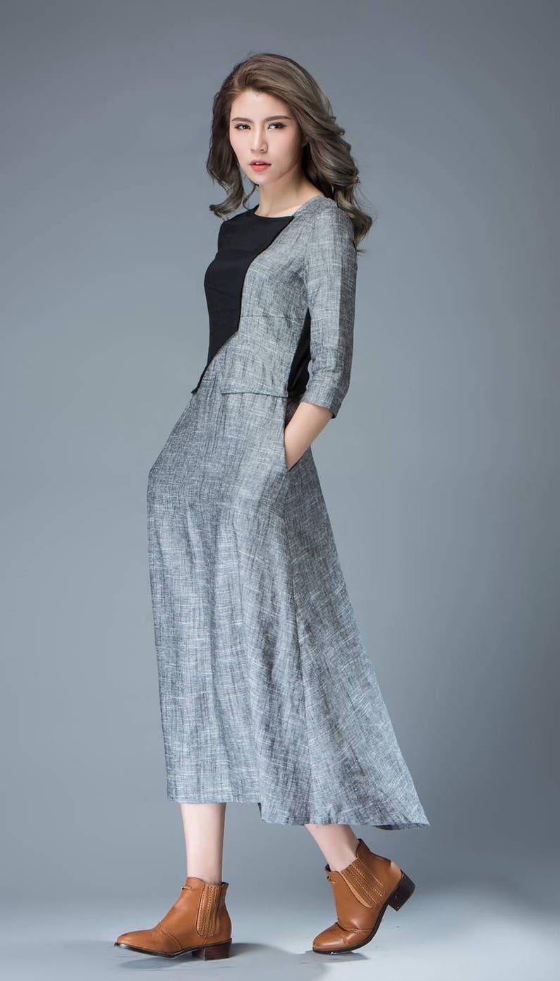bb56420f58 Linen Dress black dress gray dress maxi dress long dress