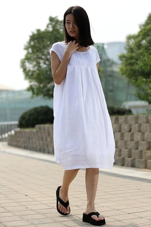 Tunic Dress Linen Tunic Linen Dress White Linen Dress Etsy
