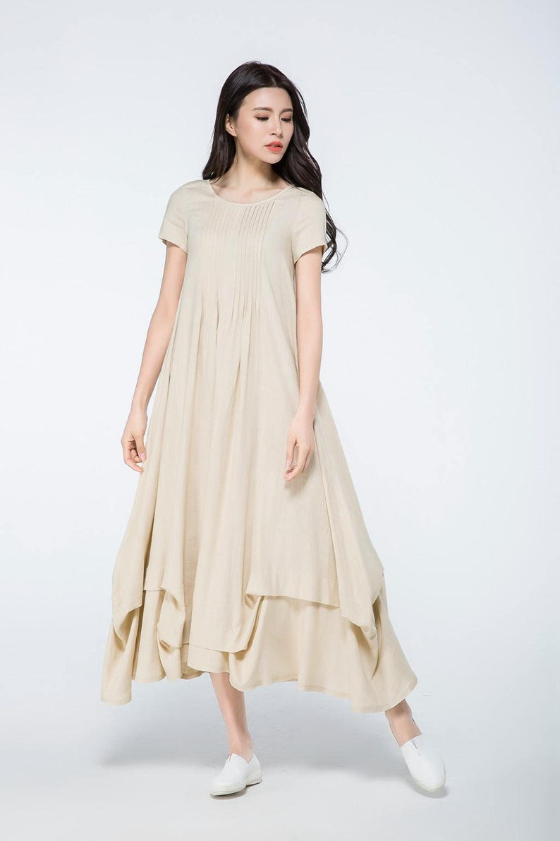 plus size linen, linen dress, long linen dress, loose dress, beige linen  dress, summer linen dress, womens linen clothes, dress C1071.