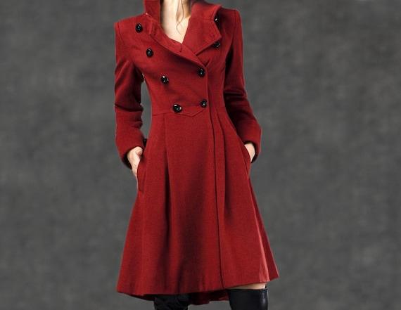 Red fit coat coat winter Military warm coat wool coat flare Coat wool coat C788 coat womens and coat custom wool red coat midi rfr7qzZ4w