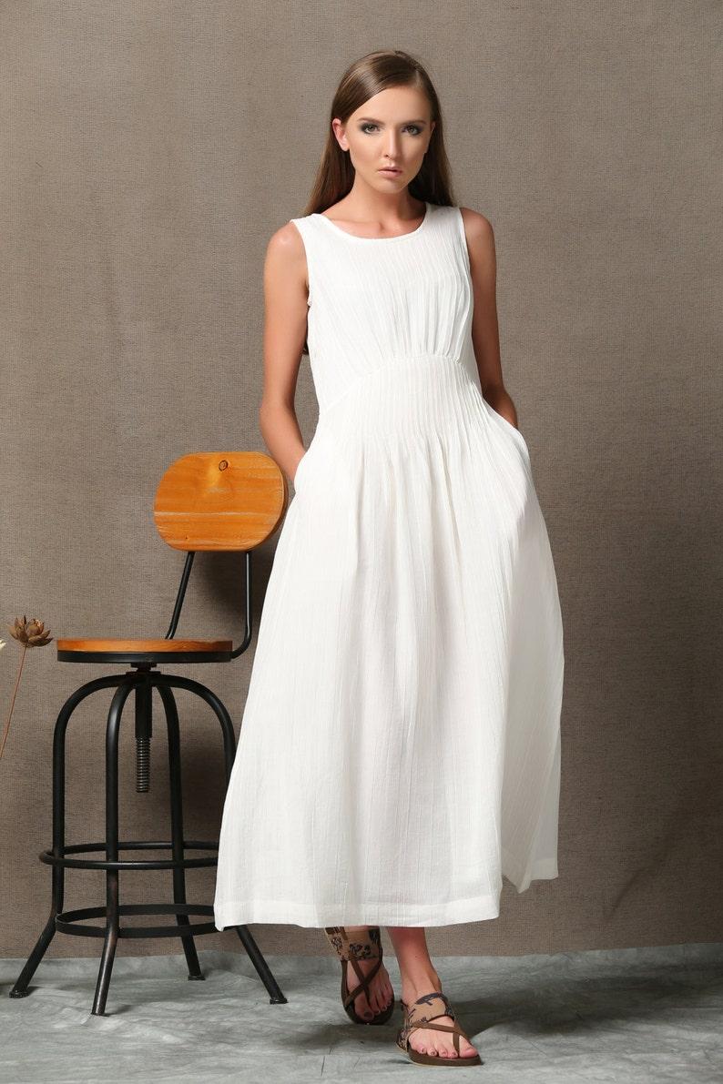 White Linen Dress, linen dress, maxi dress, white maxi dress, white dress  woman, linen clothing, plus size dress, plus size clothing C538