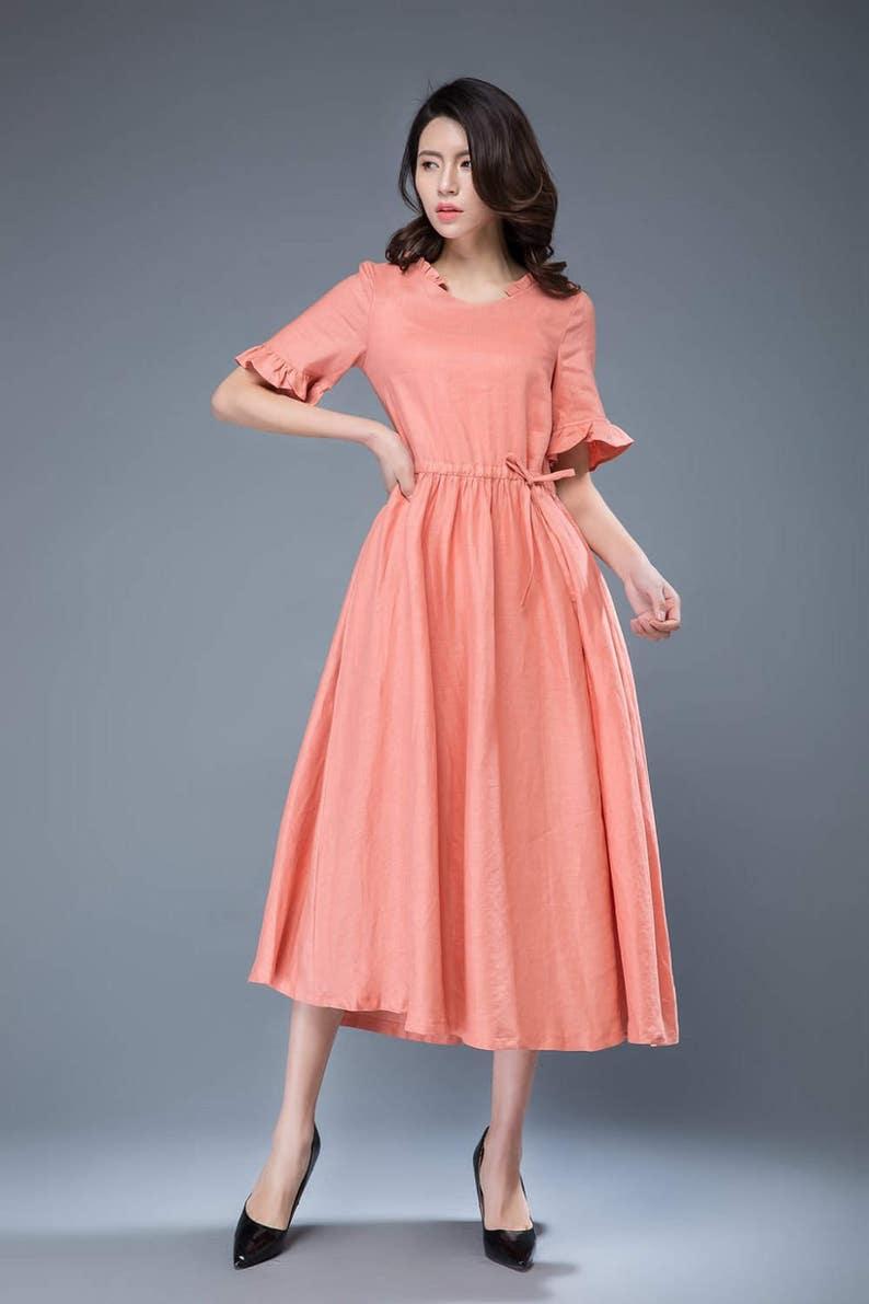 8fa5b3b2587 Pink linen dress summer long dress short sleeve dress fit