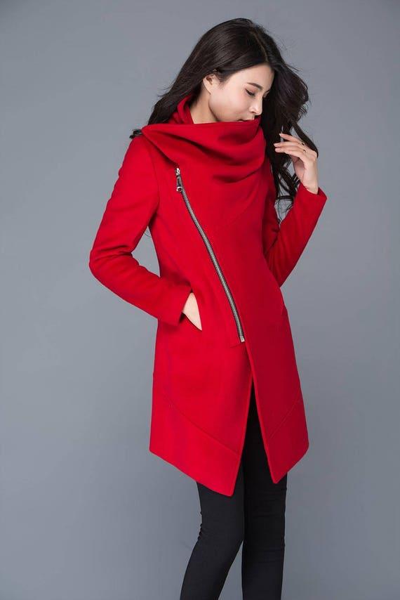 Rote Wolle Mantel Damen Wollmantel Warmen Wintermantel Rote Etsy