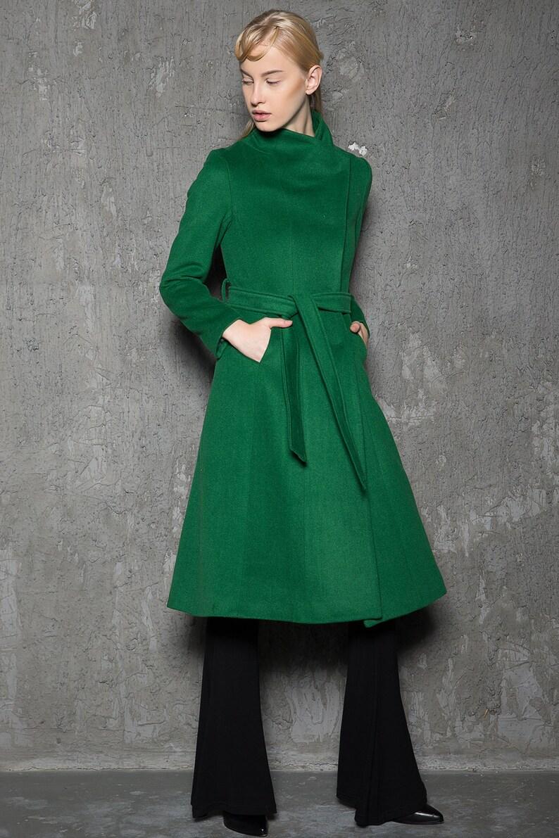 Emerald green coat wool coat wrap coat asymmetrical coat Green /C713 /L3-10