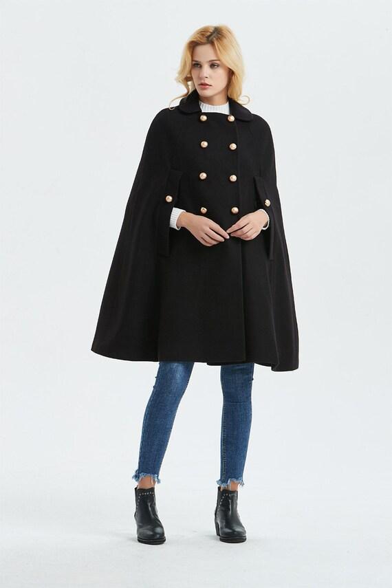 UmhangCape Plus CapeWintermantelWomens Midi MantelLose Vintage Schwarze Wolle Größe Warmes v8nw0mN