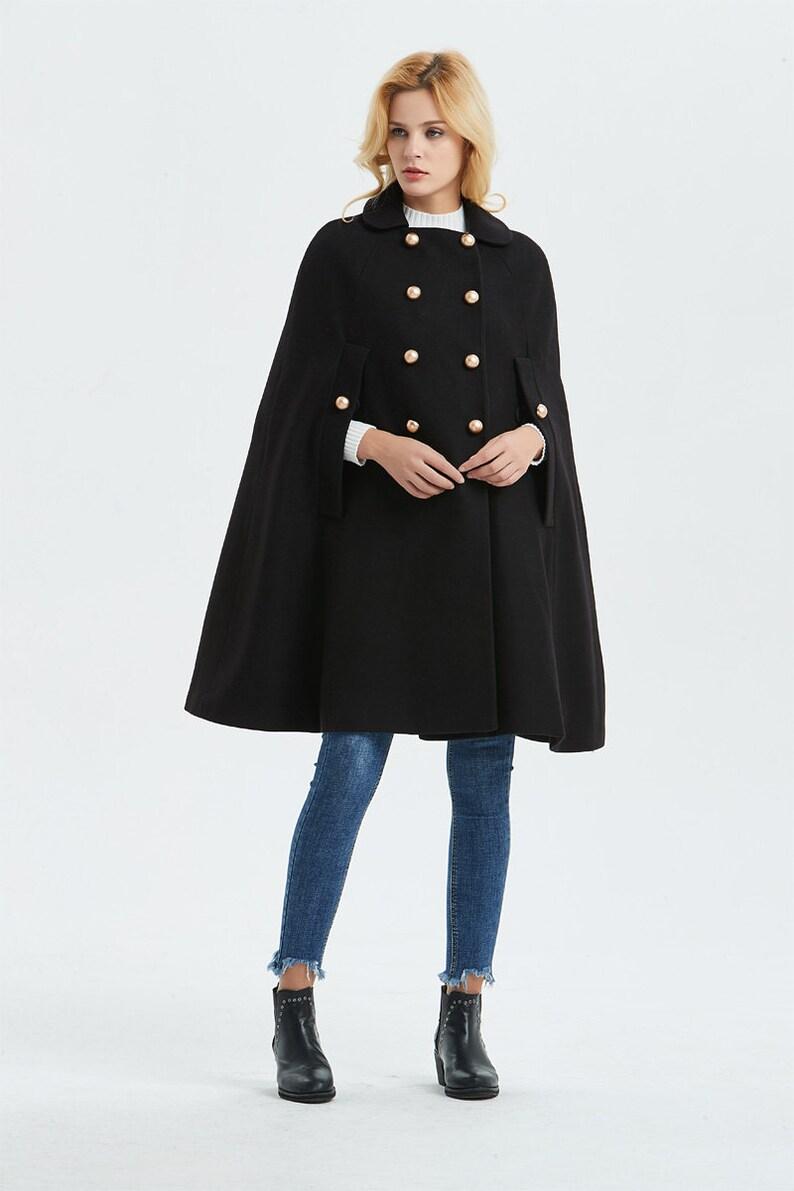 7d44a6a545a Black wool cape Cape coat loose cape midi cape Winter