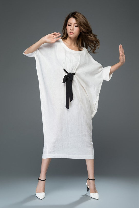 White Linen Dress Loose Fitting Casual or Smart Women's Designer Dress with Black Ribbon Tie & Batwing Sleeves C913.