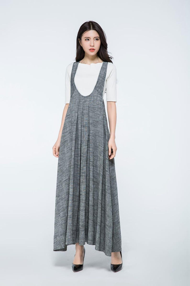 Overall dress, Pinafore dress, linen dress, long dress gray, woman dress  linen, plus size dress, summer dress, Pinafore dress woman C1057.