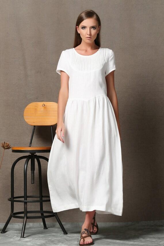 Plus Size Dress Linen Dress Maxi Linen White Dress Woman Etsy