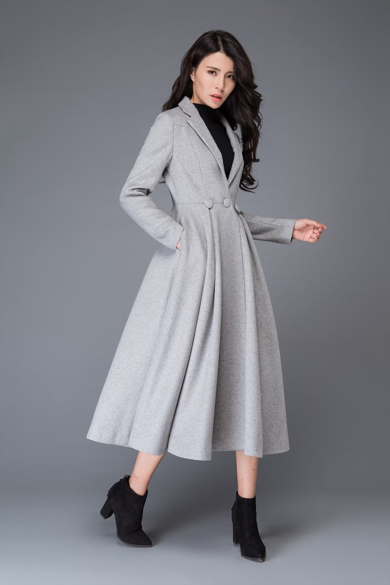 64a2b834599aa Princess coat long coat wool coat womens coats grey wool | Etsy