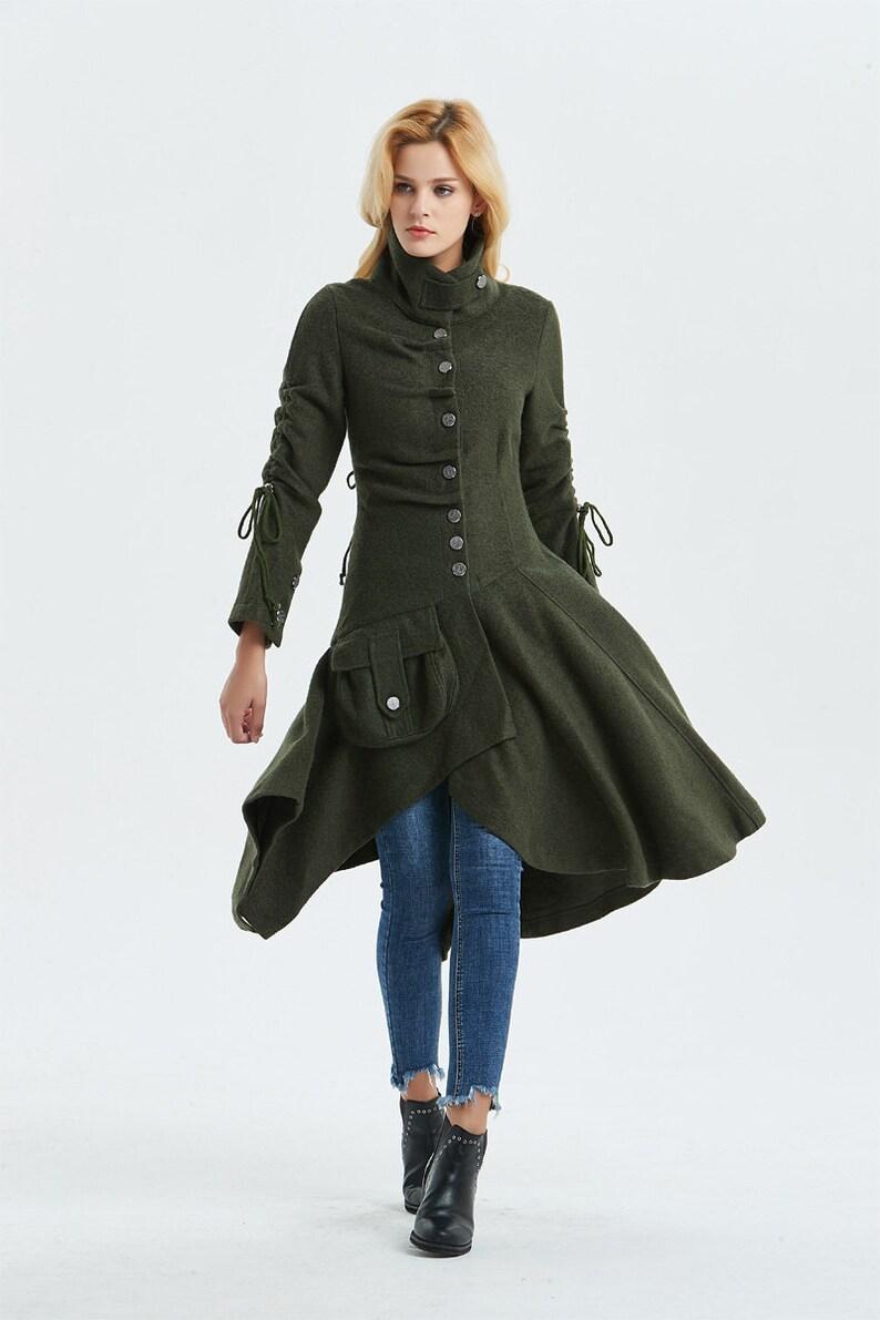 Green wool coat wool coat Warm winter coat Asymmetrical  c89ecc6912