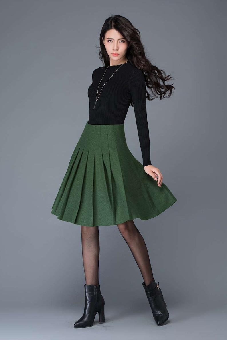 f53e521811b7ec Wool pleated skirt green skirt midi skirt swing skirt wool | Etsy