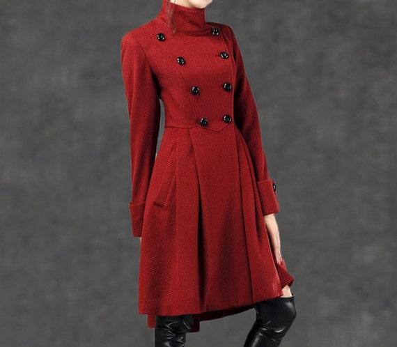 coat C788 winter coat fit red wool coat coat flare coat Red custom wool womens coat midi coat Military wool and coat Coat warm wIqzf7Bz
