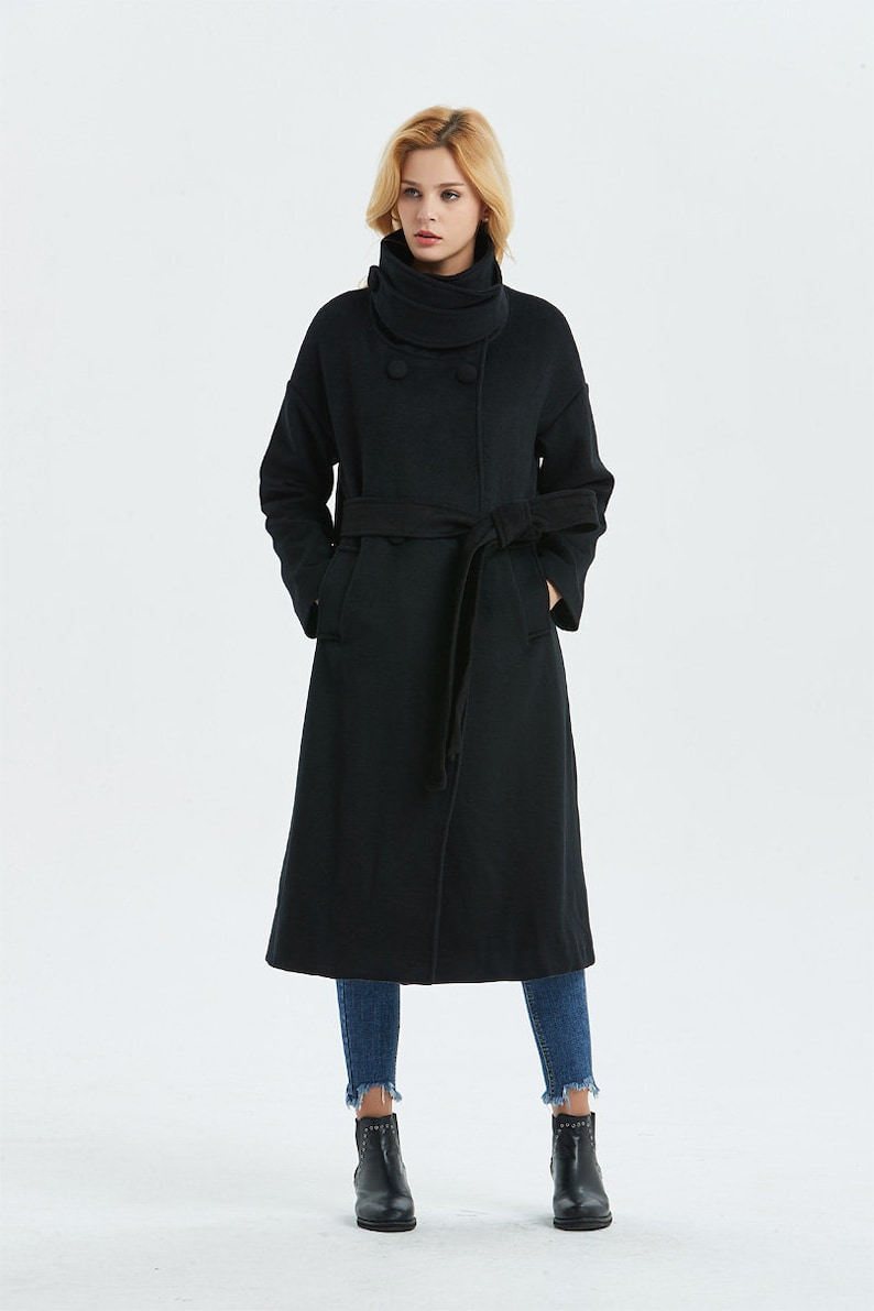407fd1185f0 Black wool coat Long coat Warm winter coat Belted coat