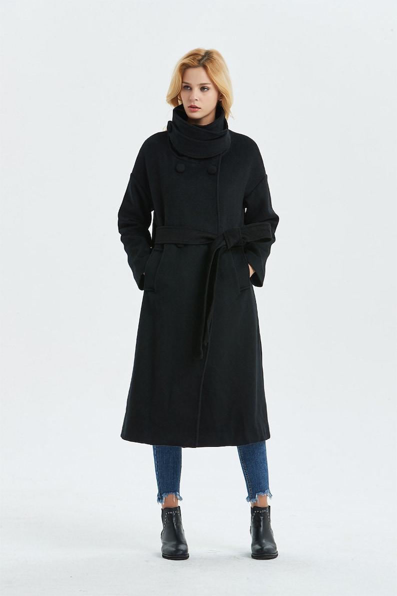 e8268e9a627 Black wool coat Long coat Warm winter coat Belted coat