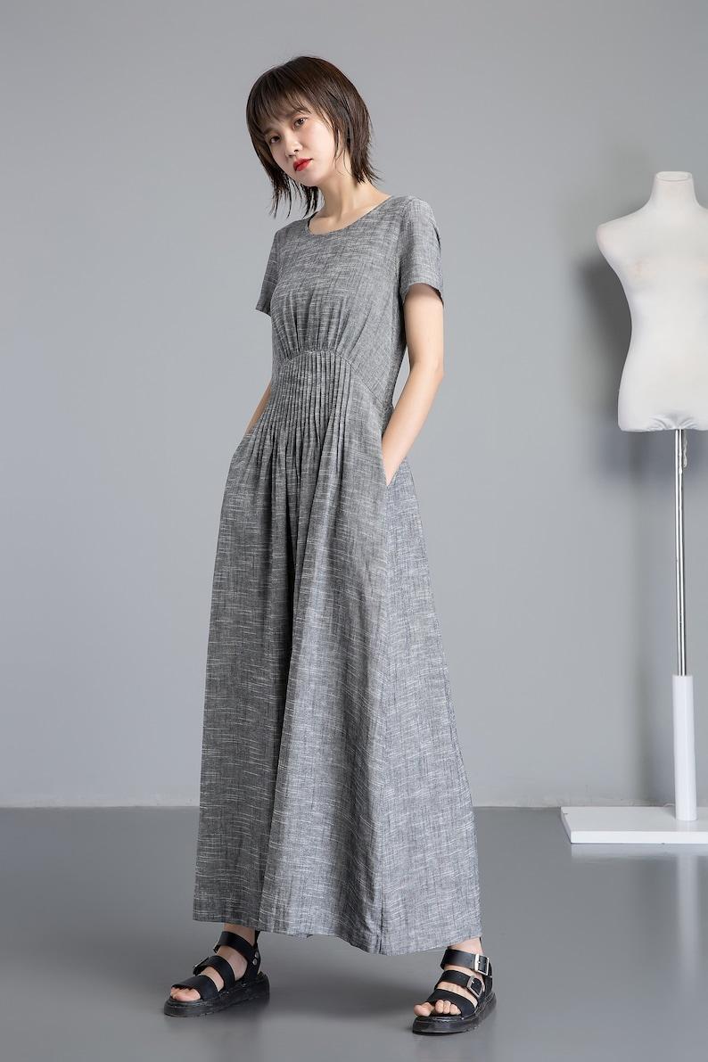 Short sleeve Linen dress for women Long Linen maxi dress image 1