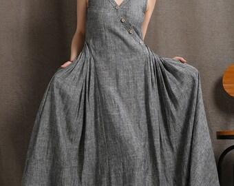 Linen dress, Maxi dress for women, womens dresses, sleeveless dress, linen dress pockets, Summer dress long, oversized dress C418