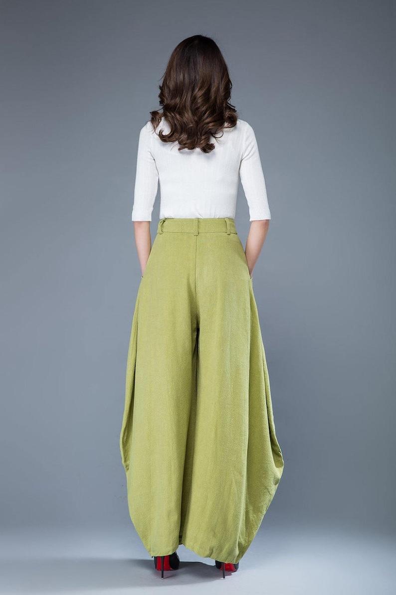 loose fit pants loose linen pants linen pants women womens pants Lime green pants linen pants long linen pants  C1052 wide leg pants