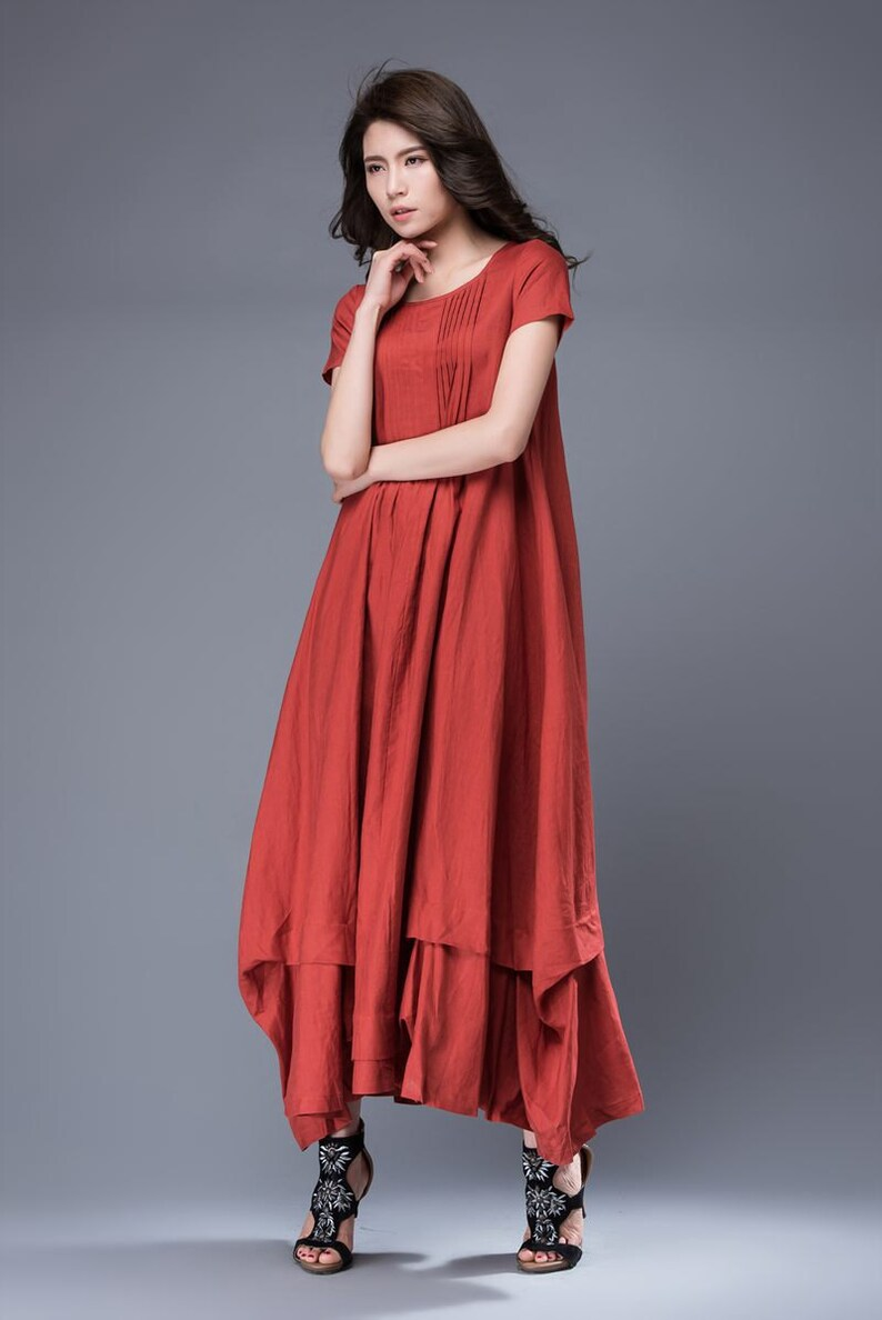 0576925a27e9 Casual Linen Dress Red Comfortable Loose-Fitted Layered