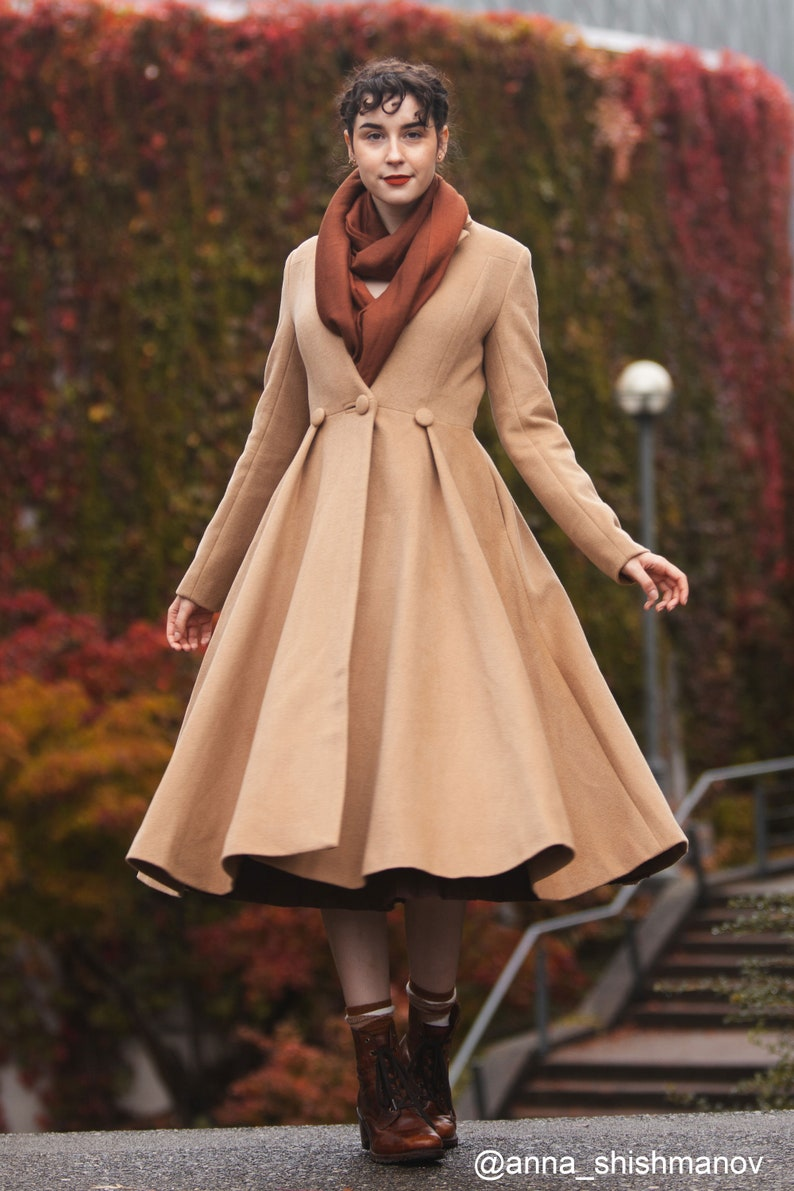 Vintage Coats & Jackets | Retro Coats and Jackets Long wool coat Wool coat women Winter wedding coat Princess coat Long coat fit and flare coat winter coat women Swing coat C996 $179.00 AT vintagedancer.com