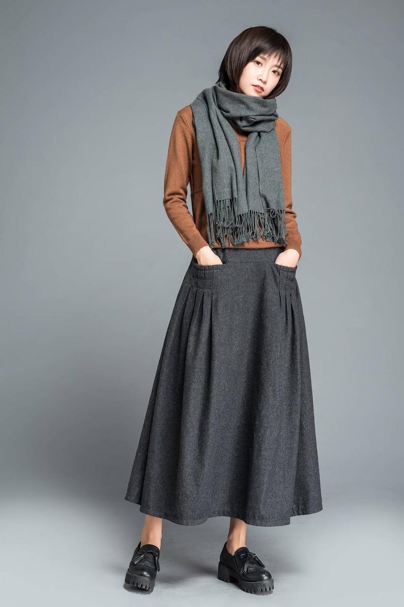 Gray skirt winter skirt wool skirt long skirt womens  c0b117c59402