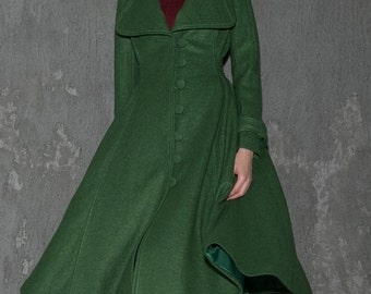 Long wool coat, Green coat, wool coat, winter coat, long coat, dress coat, wool coat women, warm winter coat, maxi coat, custom coat C656