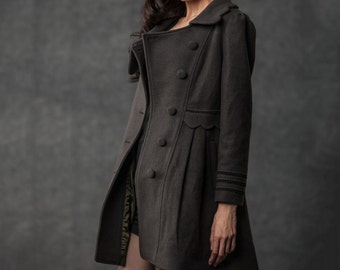 Gray Winter Coat - Woman's Outerwear Charcoal Grey Feminine Coat with Large Collar & Picot Edging C382