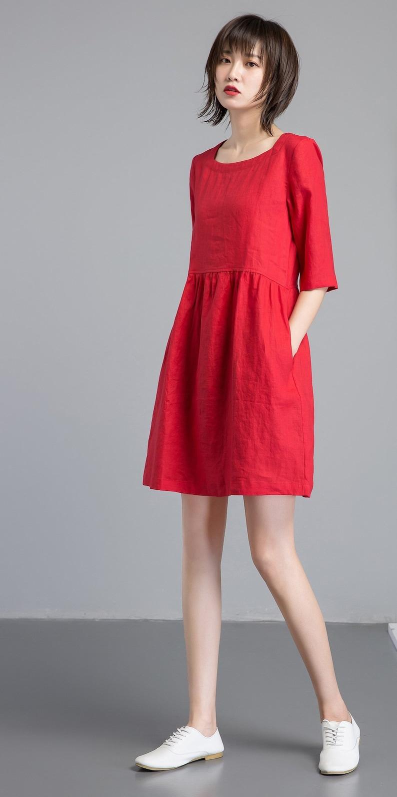 fc241a6b6b3 Shift dress Linen simple dress Basic linen dress Loose