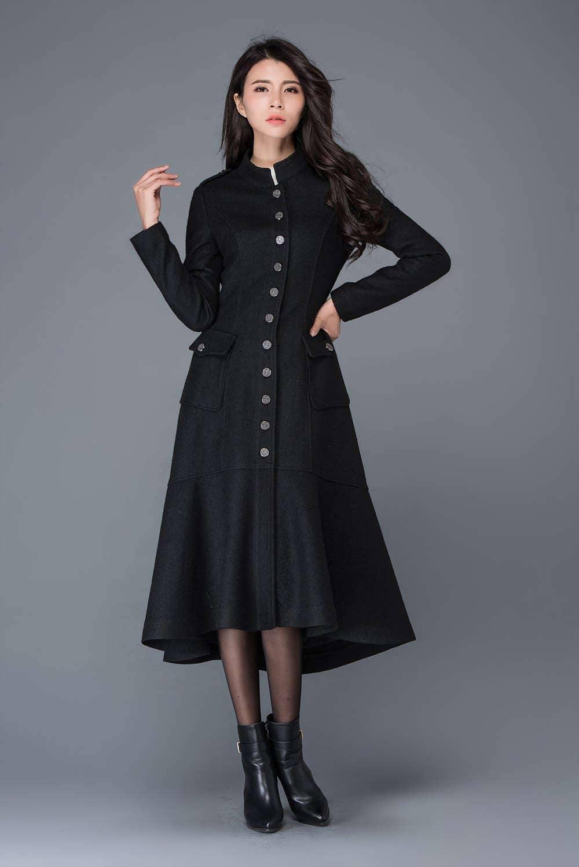 Maxi coat wool coat long black coat dress coat winter warm ...