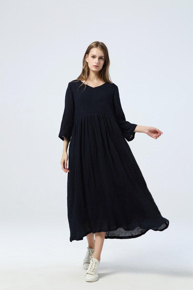 14bfc09678 Blue linen dress maxi dress womens dress linen dress loose