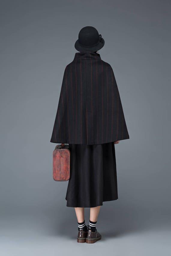 cape cape up black wool jacket poncho cape womens coat red cape coat stand stylish unique collar stripped C1184 cloak maxi coats ArqHASW