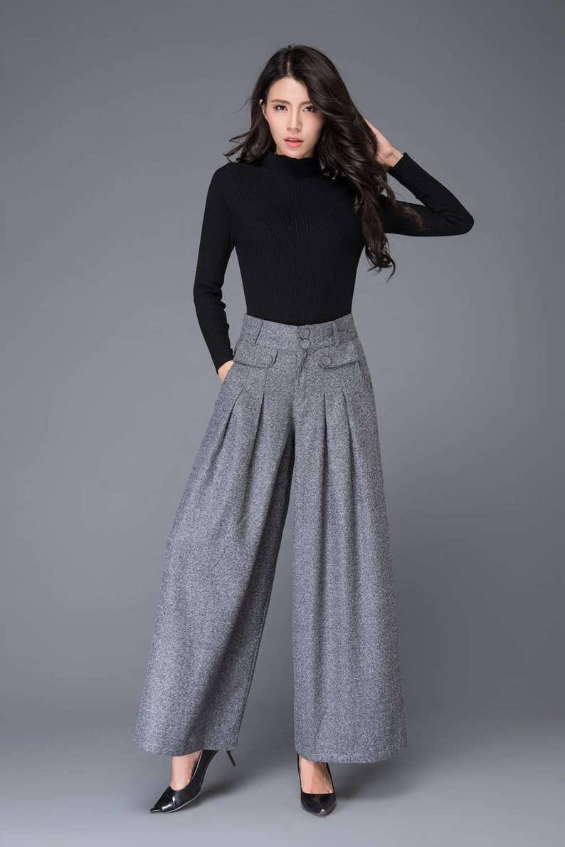 Wide Leg pants wool pants palazzo pants in Gray Maxi wool Light gay-C1001-L9-3