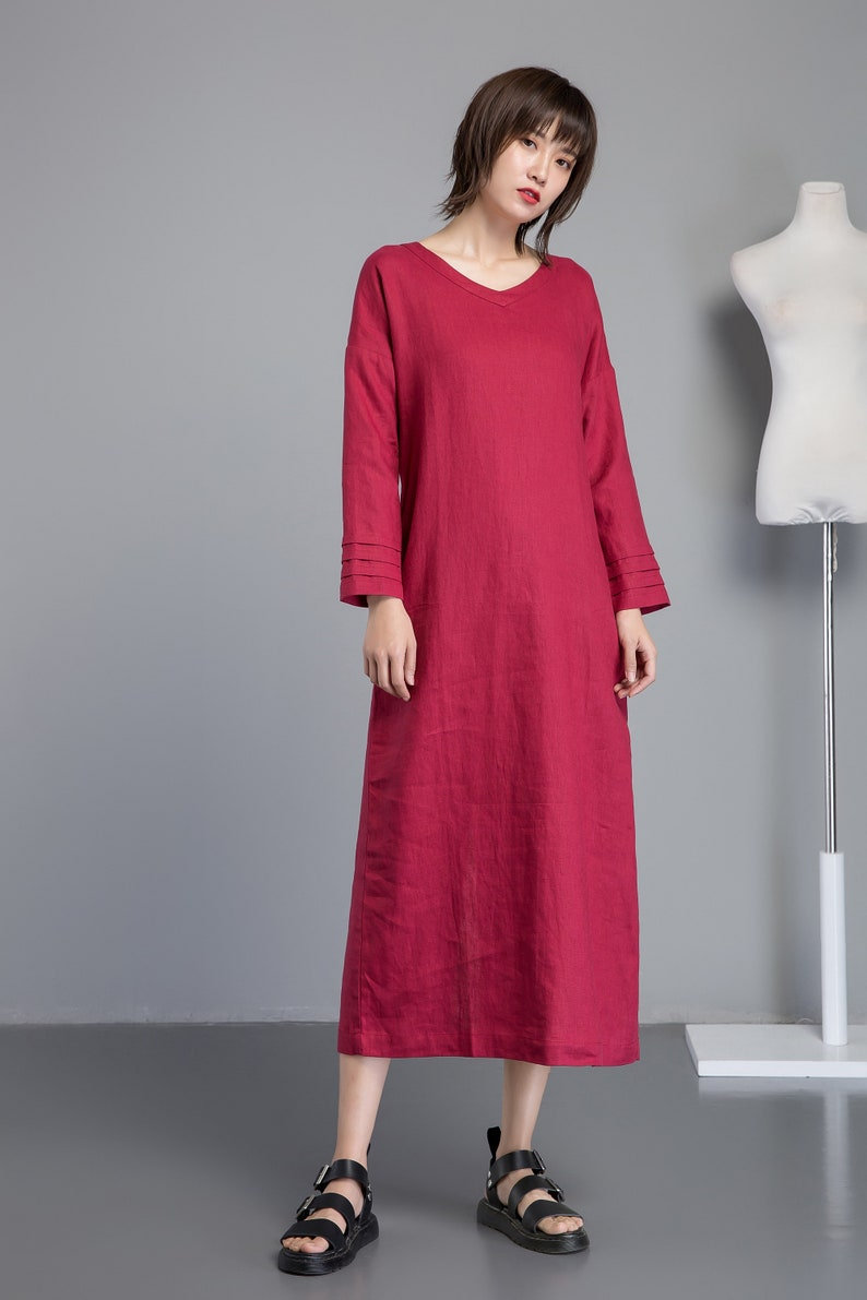 red linen dress for women, long sleeve dress for summer, V neck dress with split hem, handmade long linen dress for elegant lady C1267.