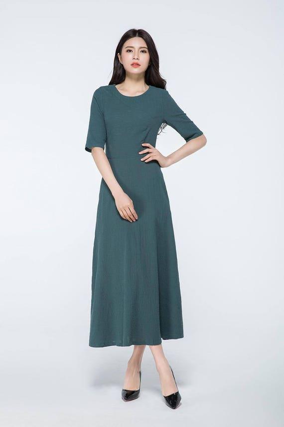 dunkel grün Leinen Maxi Kleid Maxi-Kleid mit Ärmeln   Etsy
