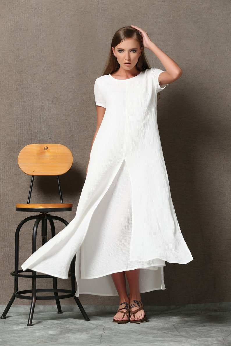 8ae2e4e2b8e Linen dress summer dress white maxi dress dress for woman