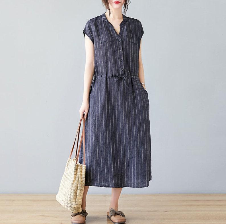 Striped Linen Dress,Sleeveless Linen Dress,Loose Fit Dress,basic midi linen dress straight silhouette sustainable fashion C1990