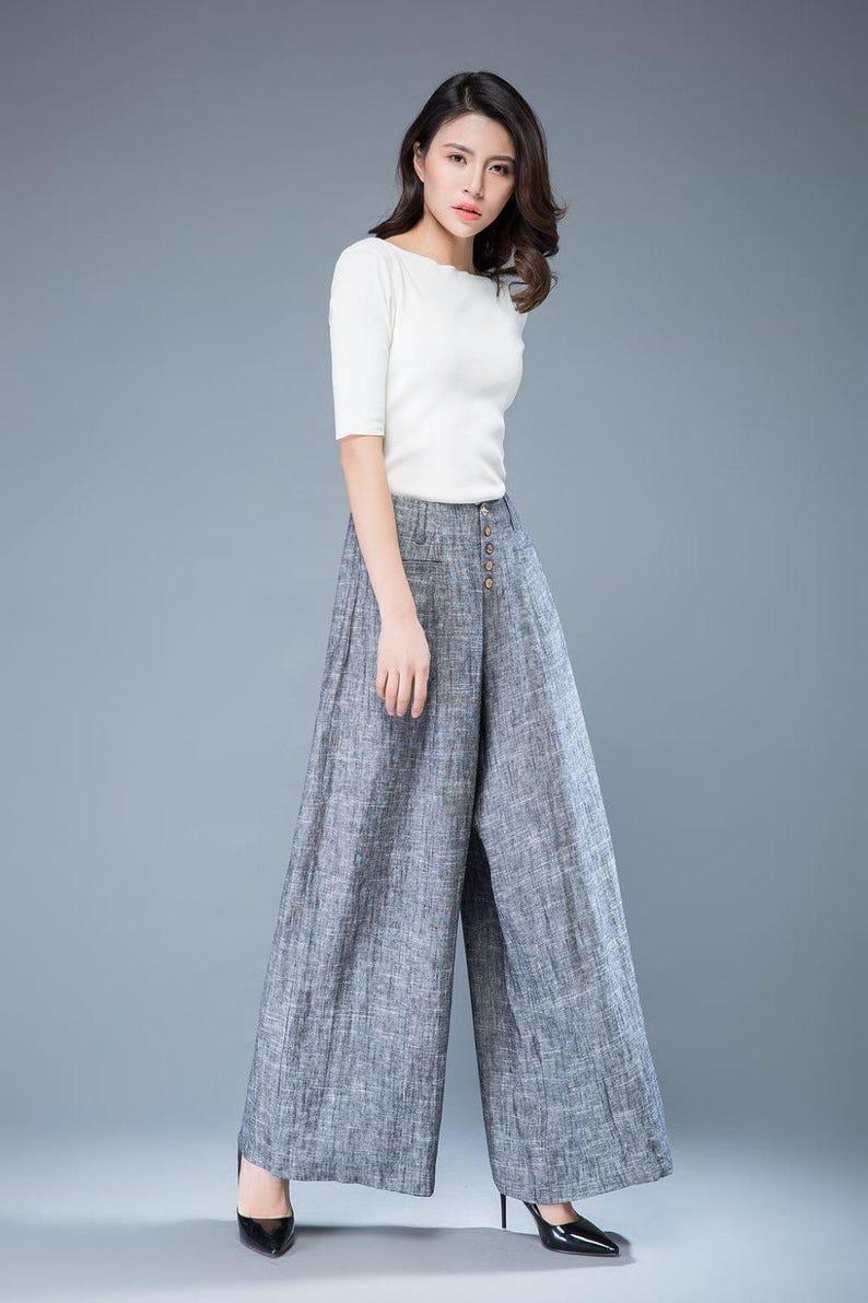 9ff04c06ab32c Gray linen Wide leg pants palazzo pants loose linen pants