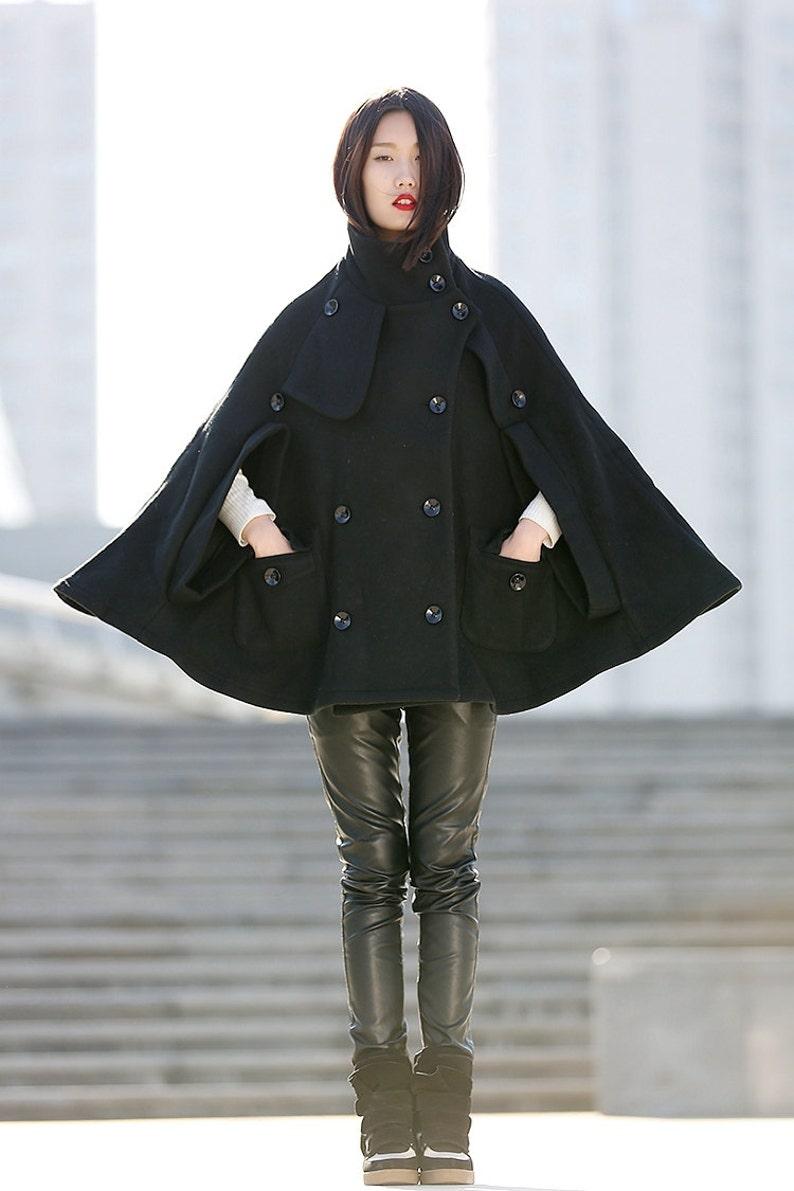 26785d3ef Winter Wool Cape Coat - Black Poncho Style High Collar Short Women Cloak  Jacket - C193.