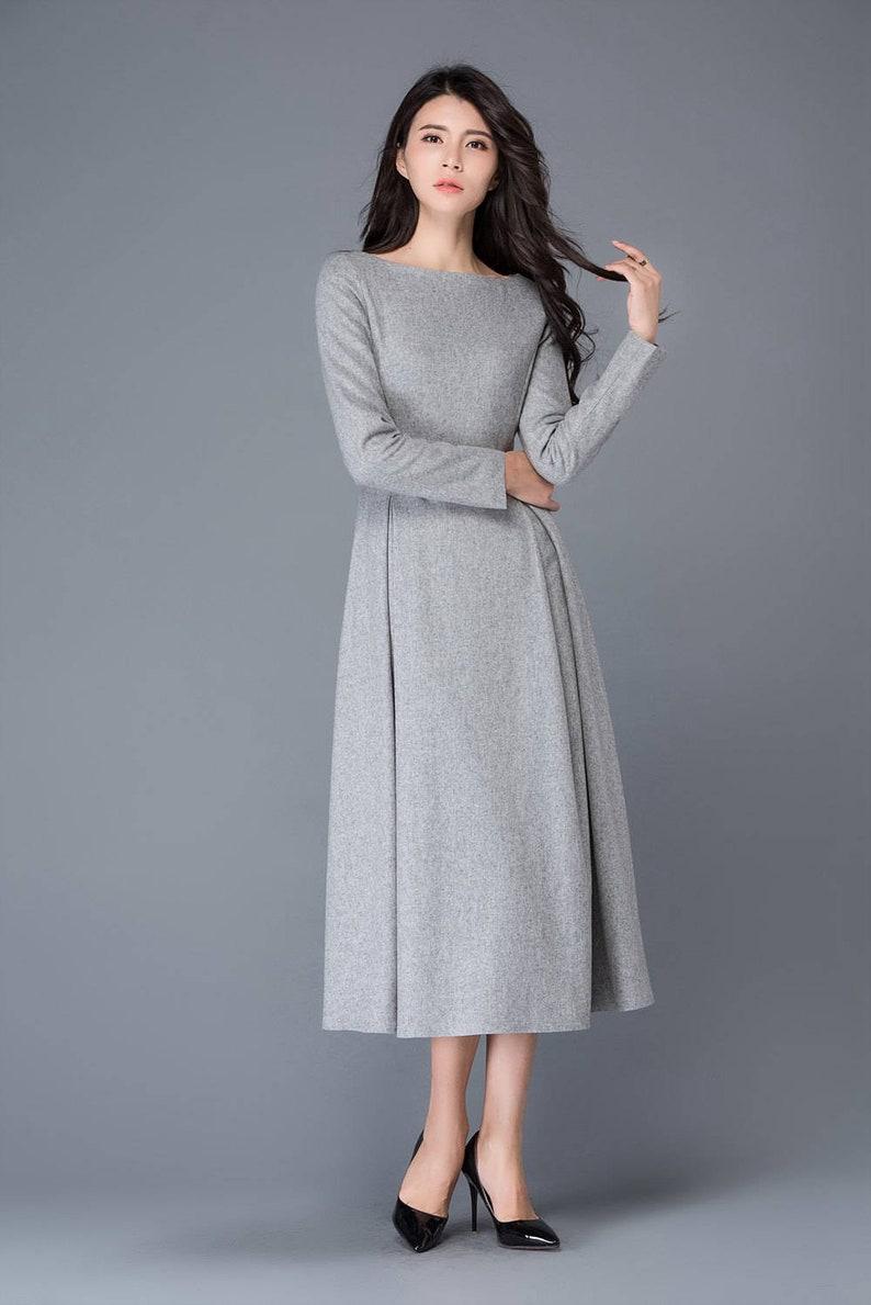 82192e3320 Womens dress wool dress winter dress gray wool dress boat | Etsy