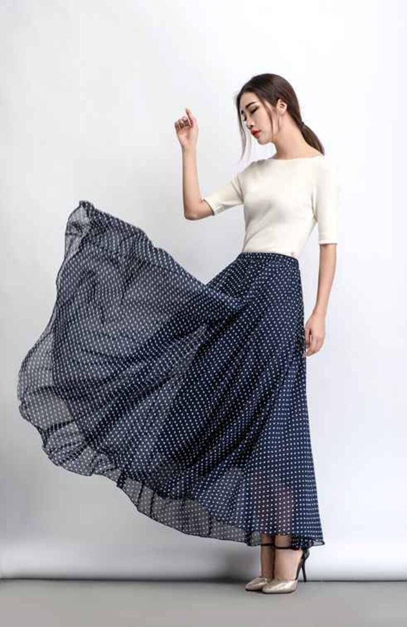 d41dff897b4848 Chiffon skirt polka dot maxi skirt floaty skirt long skirt | Etsy